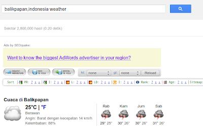 informasi cuaca di Google
