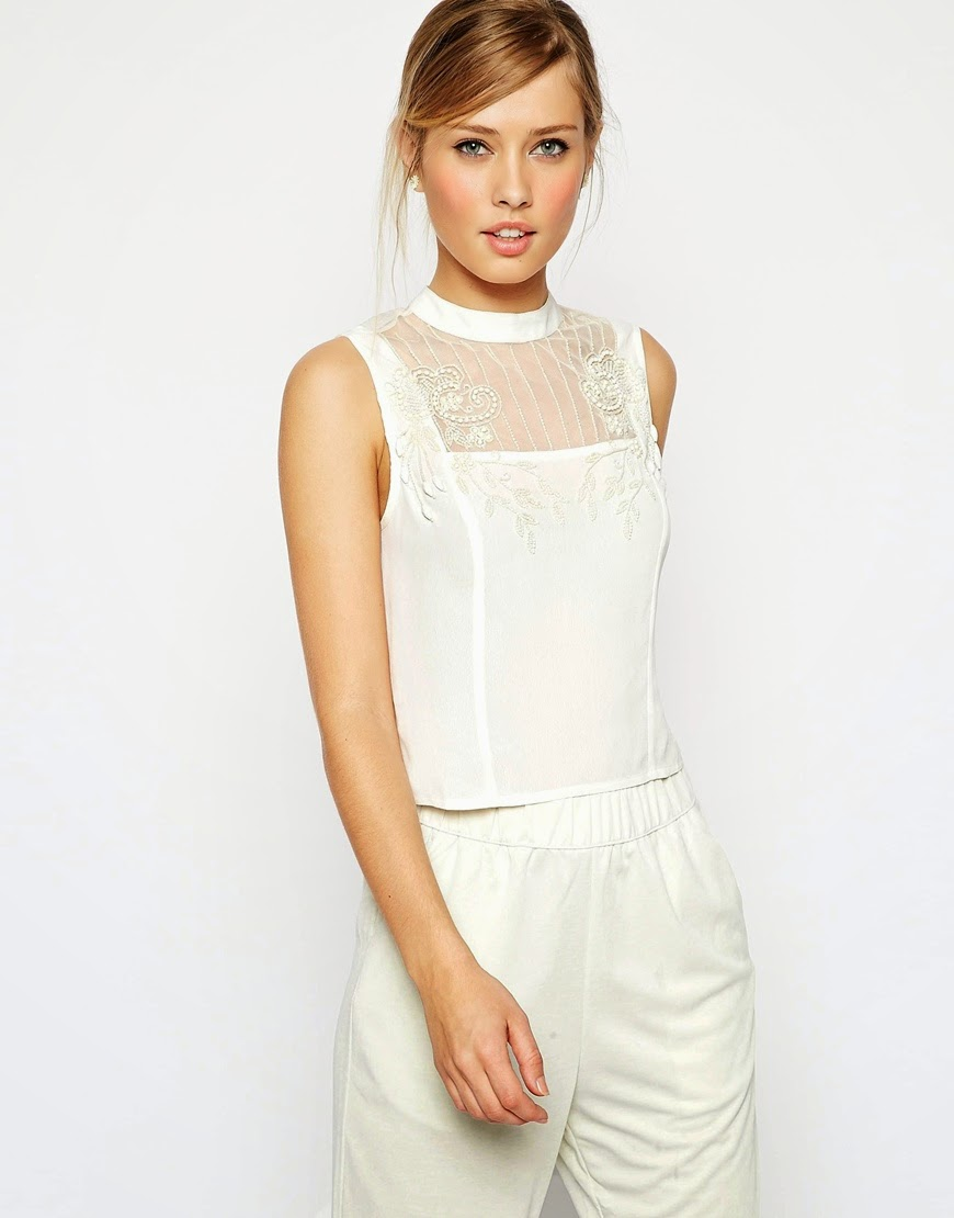 white asos top with pattern
