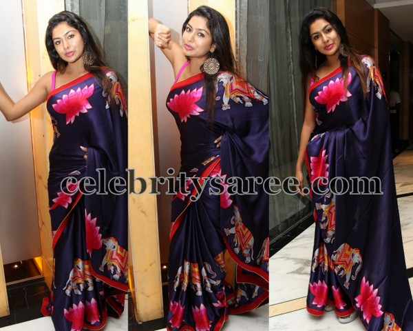 Sai Akshata Blue Printed Saree
