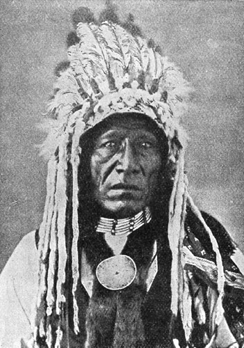 Blackfoot Indian Chief in Ceremonial Dress Clothes