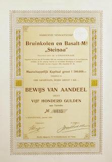 share certificate of the Bruinkolen en Basalt-Maatschappij Steinau