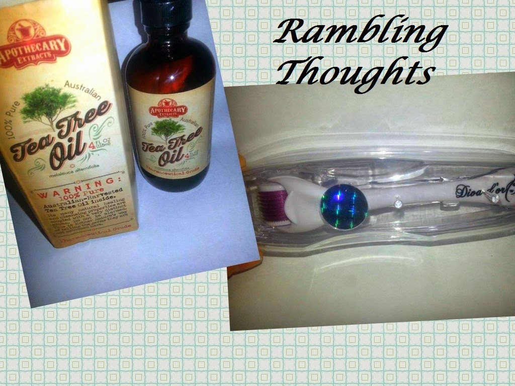 Rambling Thoughts' freebies that came in the mail: Apothecary Extracts Tea Tree Oil and Diva d'or Derma Roller