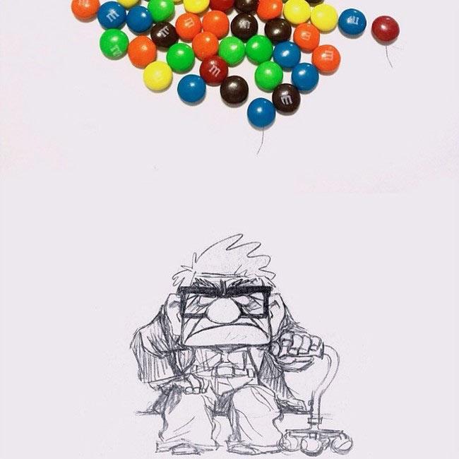 Artista añade ingeniosos dibujos alrededor de objetos cotidianos