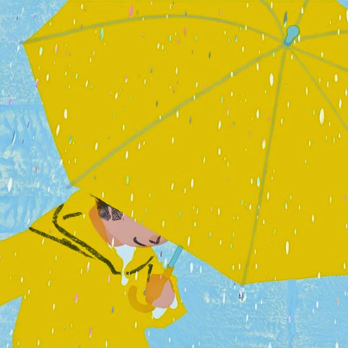 yellow umbrella illustration by Tatsuro Kiuchi