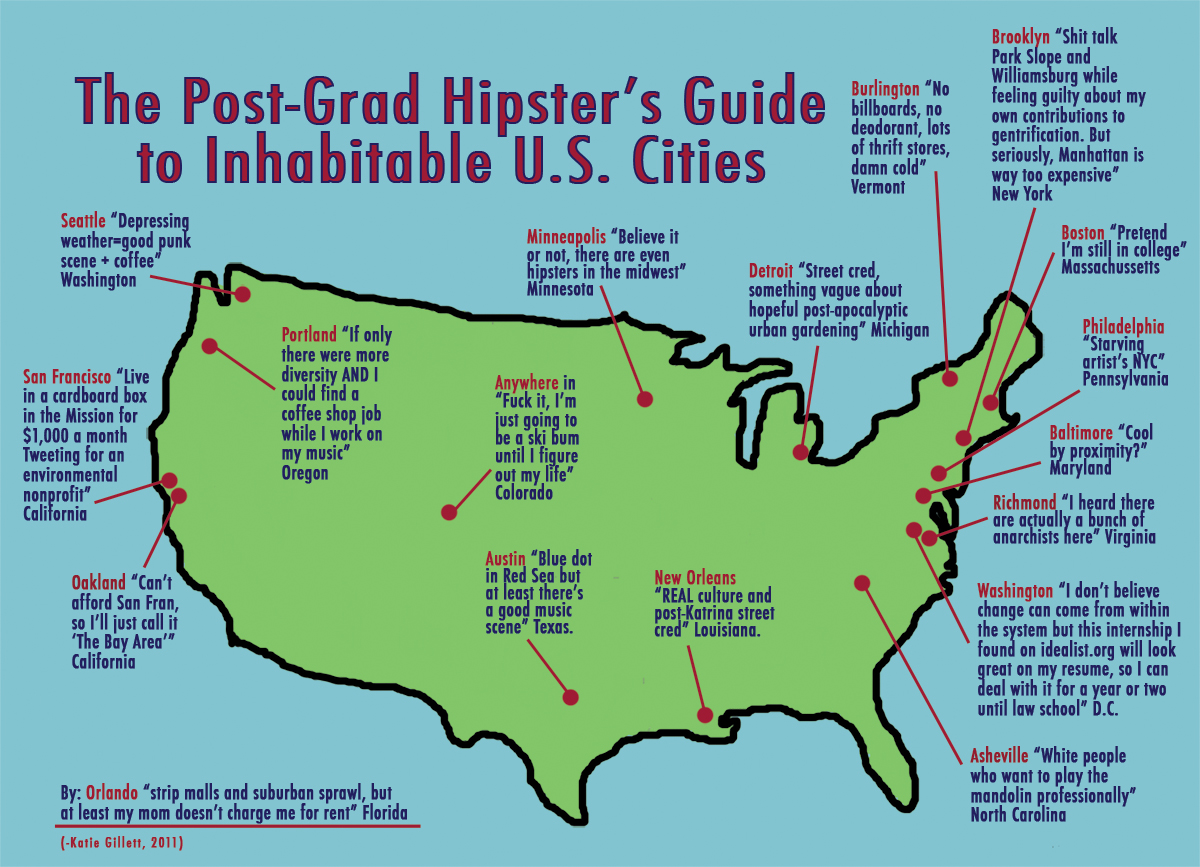 the post grad s hipsters guide to inhabitable u s cities for all of you recent graduates or about to be graduates map by cartographer katie gillett