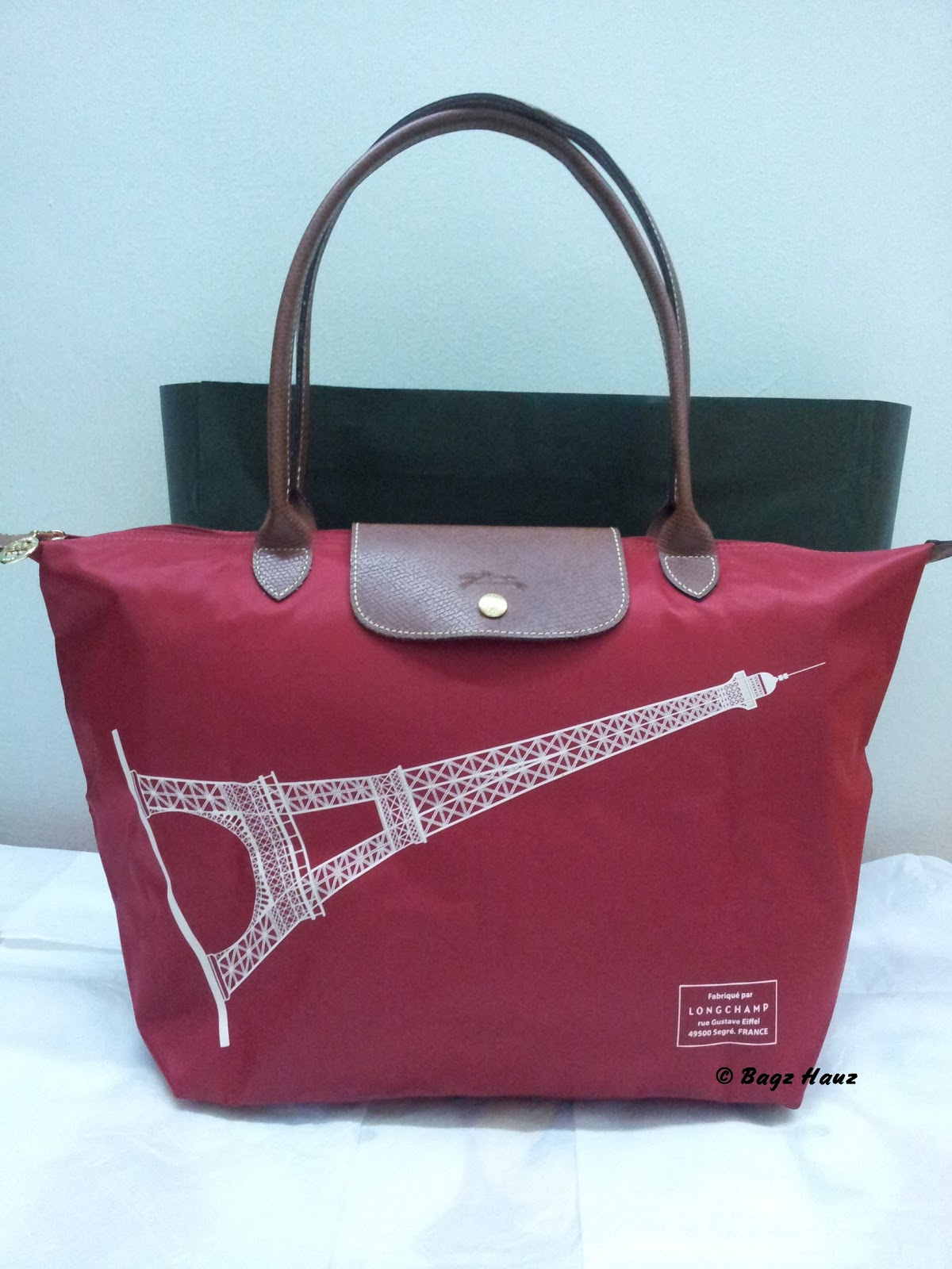 Longchamp Eiffel Laukku : Longchamp paris eiffel tower medium long handle bluejpg