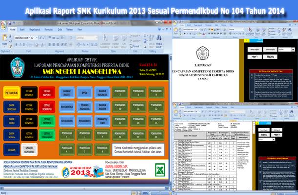 Aplikasi Raport SMK Kurikulum 2013 Microsoft Excel Sesuai Permendikbud No 104 Tahun 2014