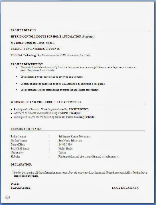 resume format for freshers free download freshers