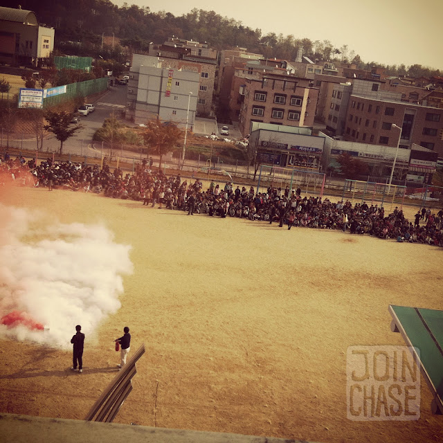 A school fire drill at Bibong Elementary in Ochang, South Korea.