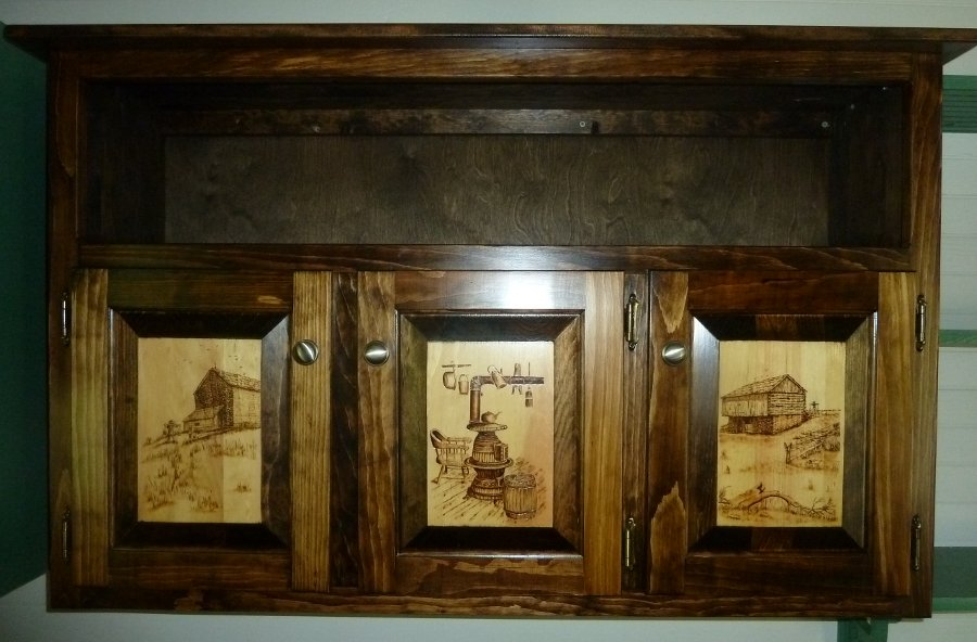 Daniel tate pyrographic art country themed amish built cabinet - Amish built kitchen cabinets ...