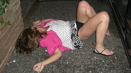 Drunk Girl Passed Out On Sidewalk