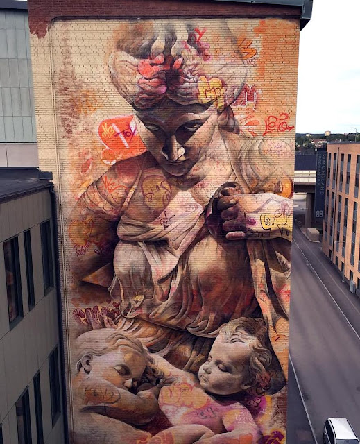 Last seen in Fanzara, Spain a few weeks ago, PichiAvo were just invited in Sweden for the No Limit Boras Street Art Festival.