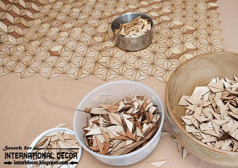 New collection of Eco-friendly wooden carpet and rugs, textured elements