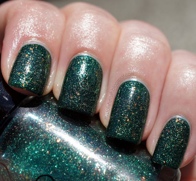 nail polish green jelly flakies glitter CultNails ToxicSeaweed