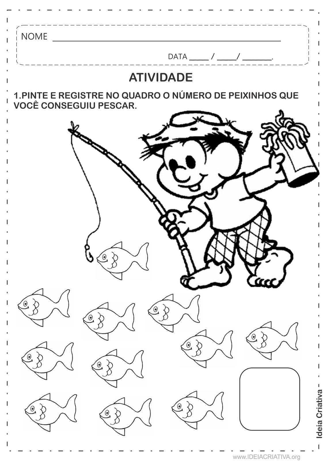 Atividade Chico Bento Pescaria Número e Quantidade Educação Infantil