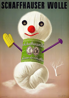 snowman illustration from a vintage german wool ad