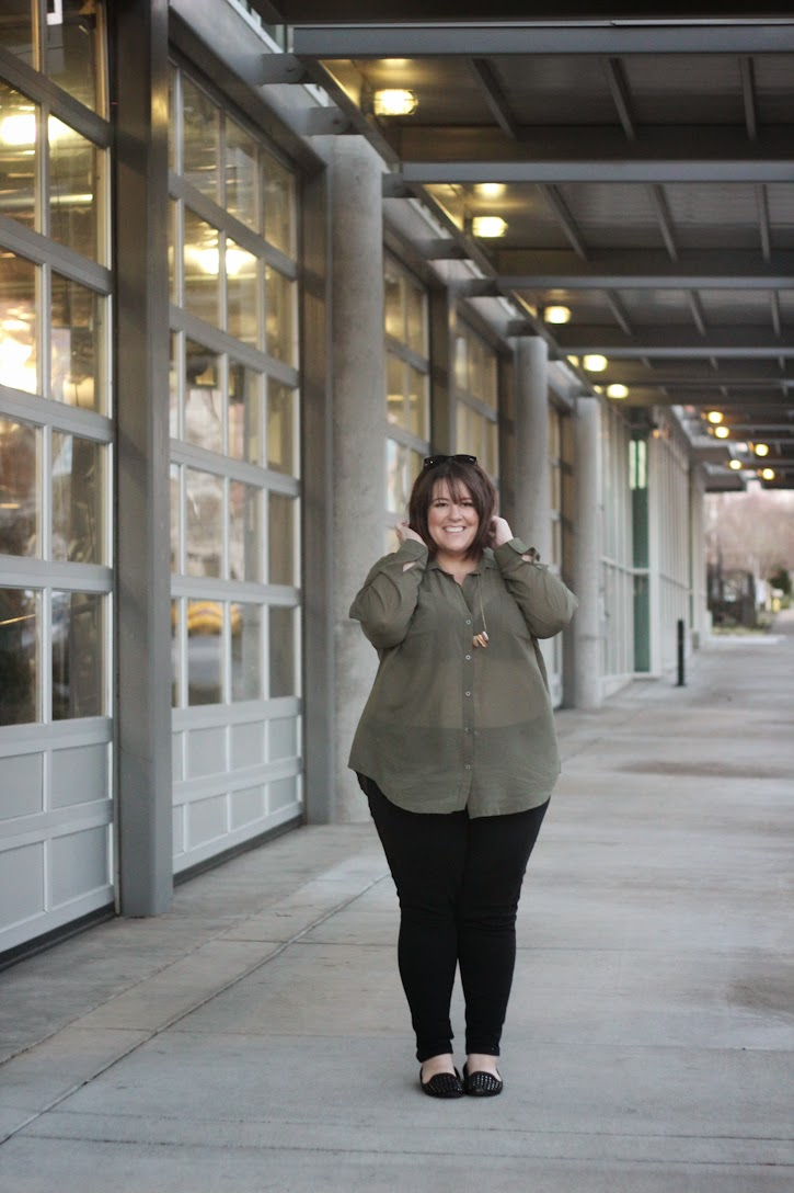 Jessica Kane Top Plus Size Fashion Style Blog Olive Green Fashion