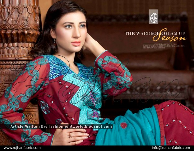 Rujhan Fabrics Spring/Summer Lawn Collection 2015