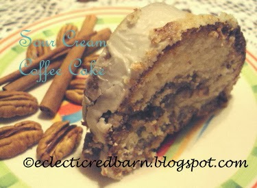 Eclectic Red Barn: Sour Cream Coffee Cake Sliced