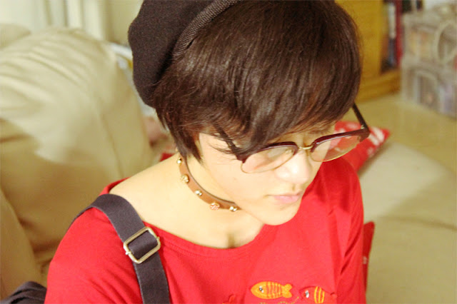 gab, raleigh, r'leigh, ullzang, noob, glasses, beret, red