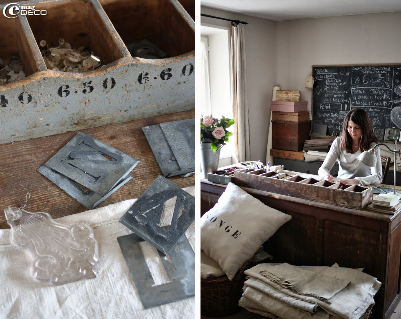 Dans un vieux casier en bois : pochoirs métalliques, boutons, médailles religieuses et une belle pampille du XIXème siècle