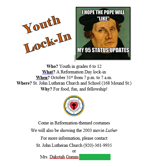 Sample of Reformation Day Lock-In Flyer