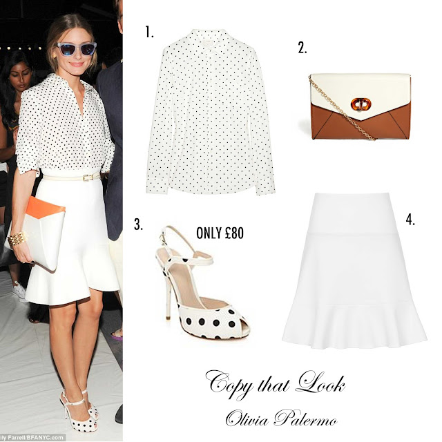 Olivia Palermo: Polka Dot Shirt, White Skirt, Polka Dot Shoes