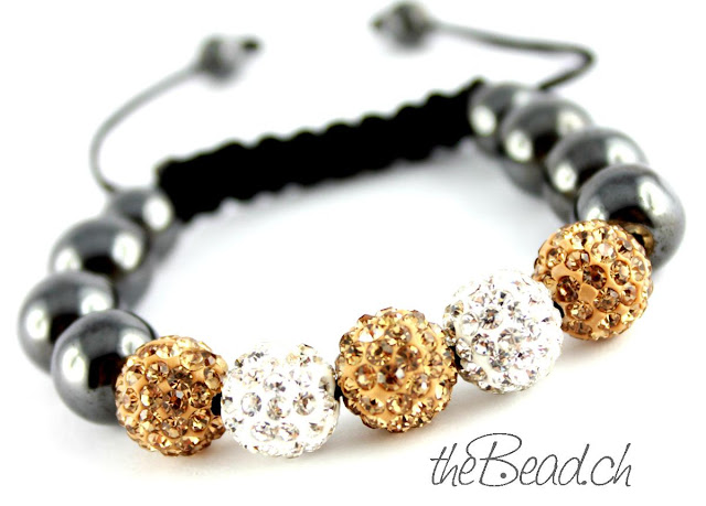 Shamballa Armband Makramee gold