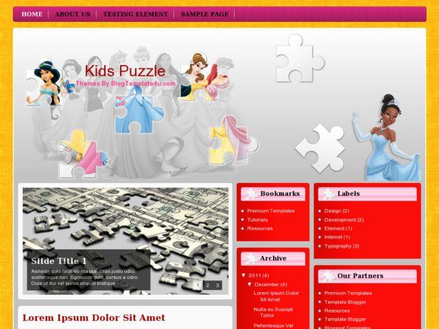 Kids Puzzle Blogger Template