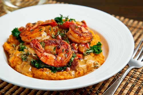 ... Blackened Shrimp on Kale and Mashed Sweet Potatoes with Andouille