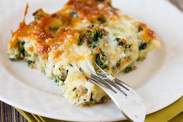 Riches to Rags* by Dori: Cheesy Sausage Spinach Breakfast Casserole