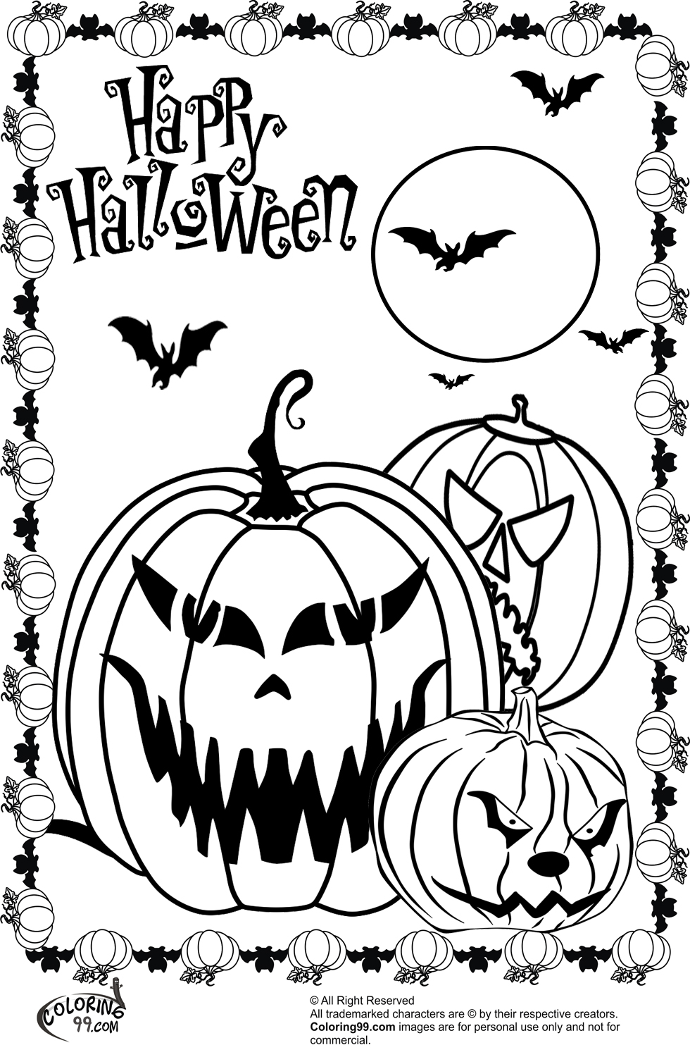 Scary halloween pumpkin coloring pages team colors for Halloween pictures to colour in