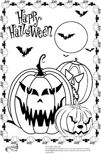 three scary pumpkins coloring pictures for halloween