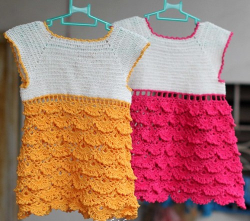 Crochet charming dress for little girls - Free pattern