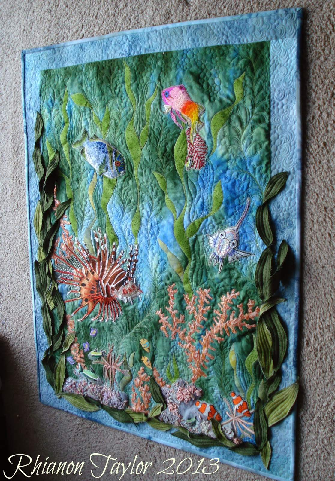 The nifty stitcher hand embroidered tropical fish wall for Fish wall hanging