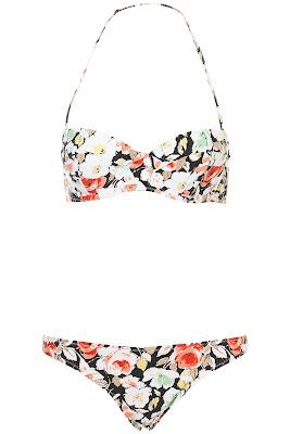 bikini vintage, fondo de flores, fondo floral, bikini