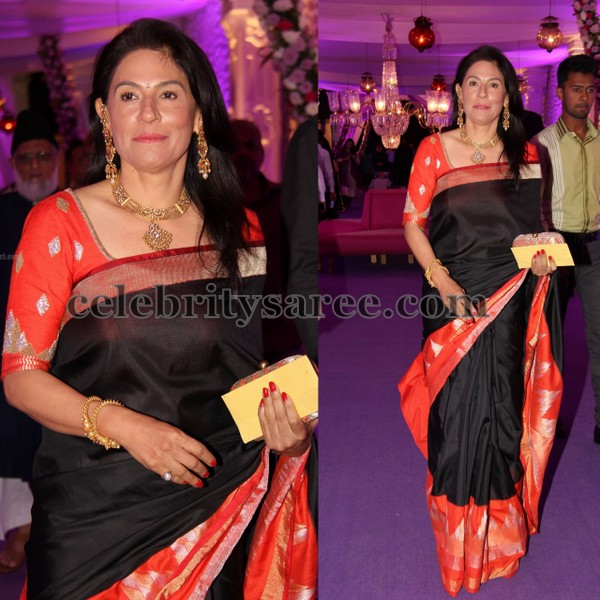 Black Orange Soft Silk Saree