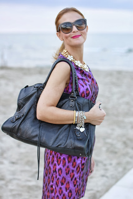 Purple animalier dress, Balenciaga Work, Fashion and Cookies, fashion blogger