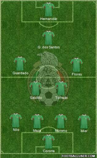 México sistema tático 4-2-3-1 jogo