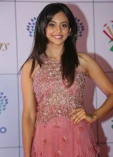 Actress Rakul Preet Singh Latest Pictures in Long Dress at Memu Saitam Dinner with Stars Red Carpet 23