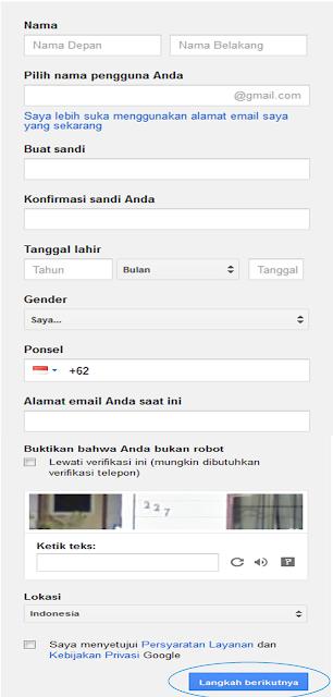 Form Pendaftaran Email Google