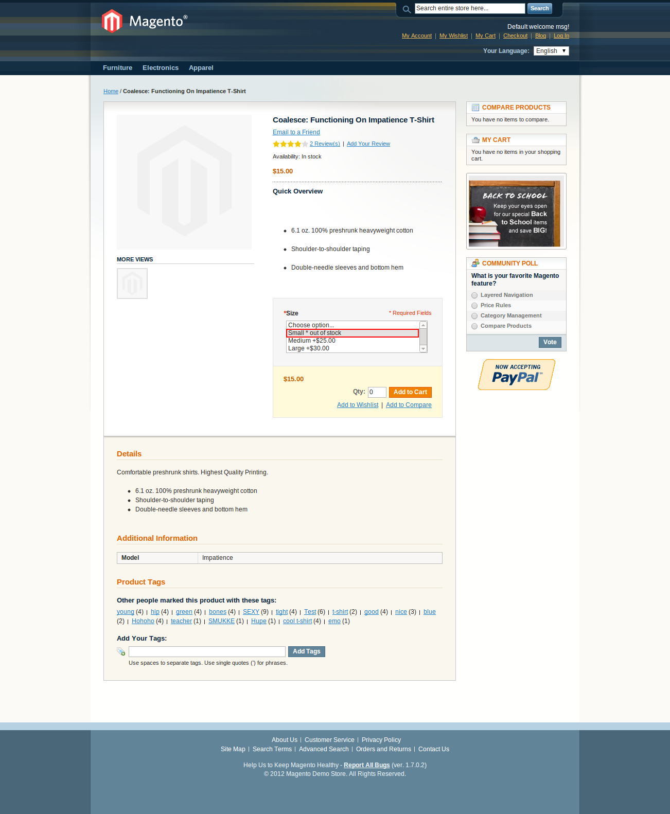 Magento configurable product options out of stock