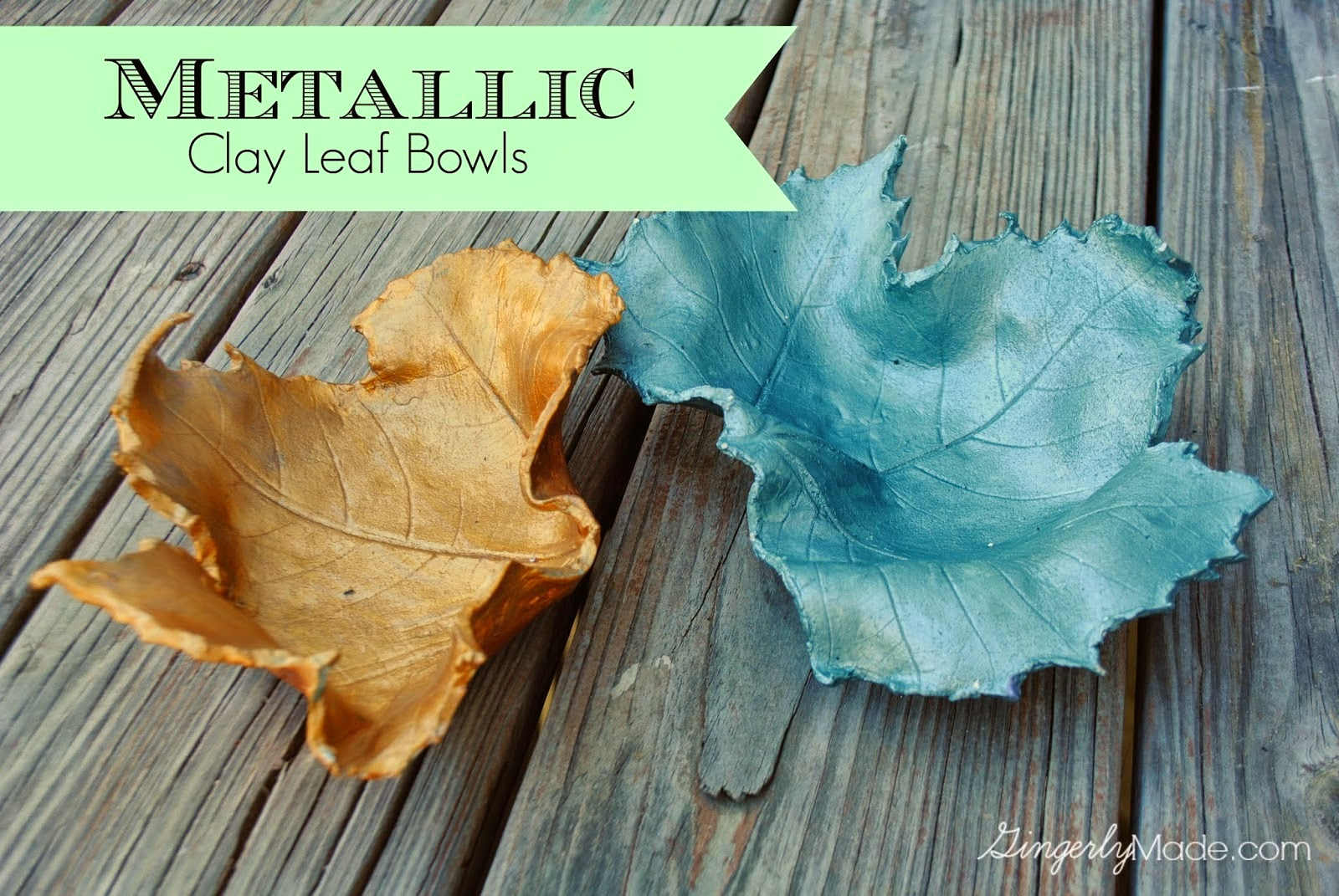 Metallic clay leaf bowls diy
