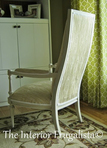 Vintage High Back Throne Arm Chair makeover rear facing