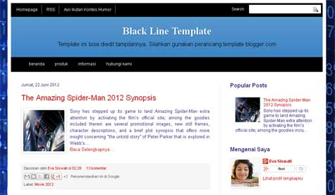 Template Blog Black Line SEO Friendly - blankON-ku