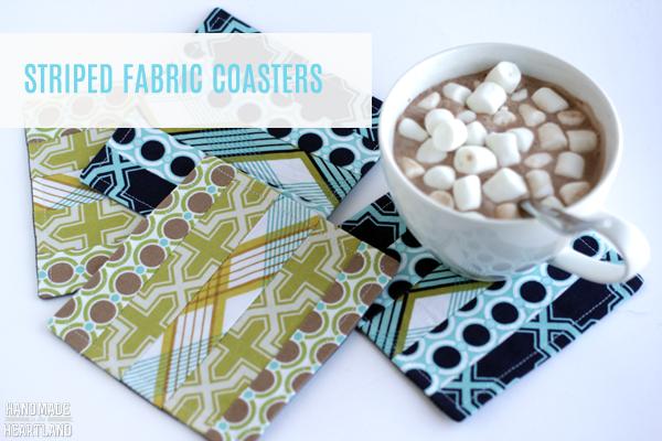 Striped Fabric Sewn Coasters, Great Gift Idea!