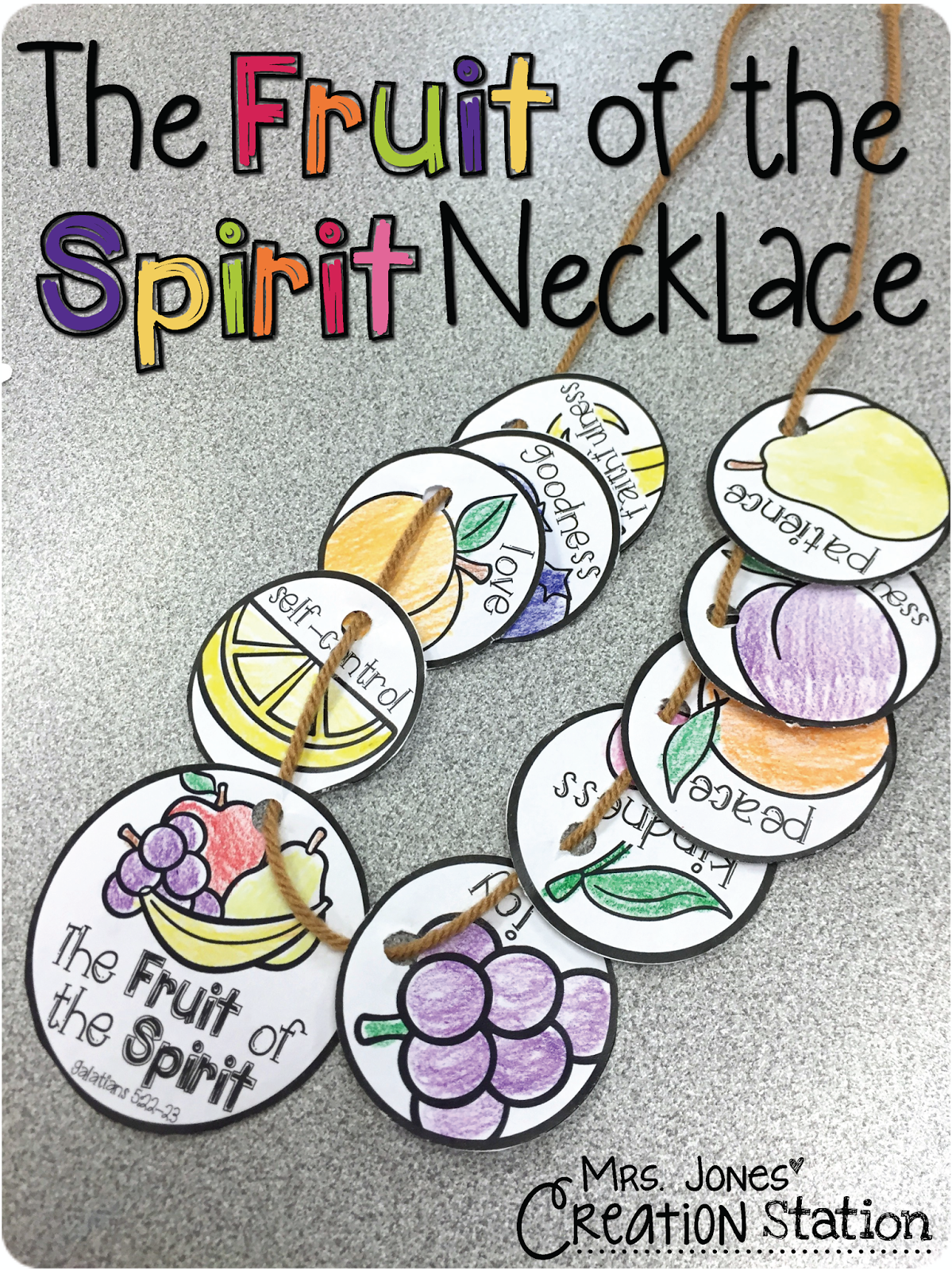 photograph relating to Fruits of the Spirit Printable named The Fruit of the Spirit Necklace - Mrs. Jones Production Station