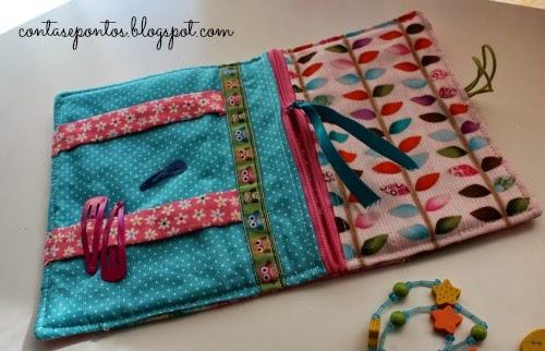 bolsa para ganchos em tecido, mochos