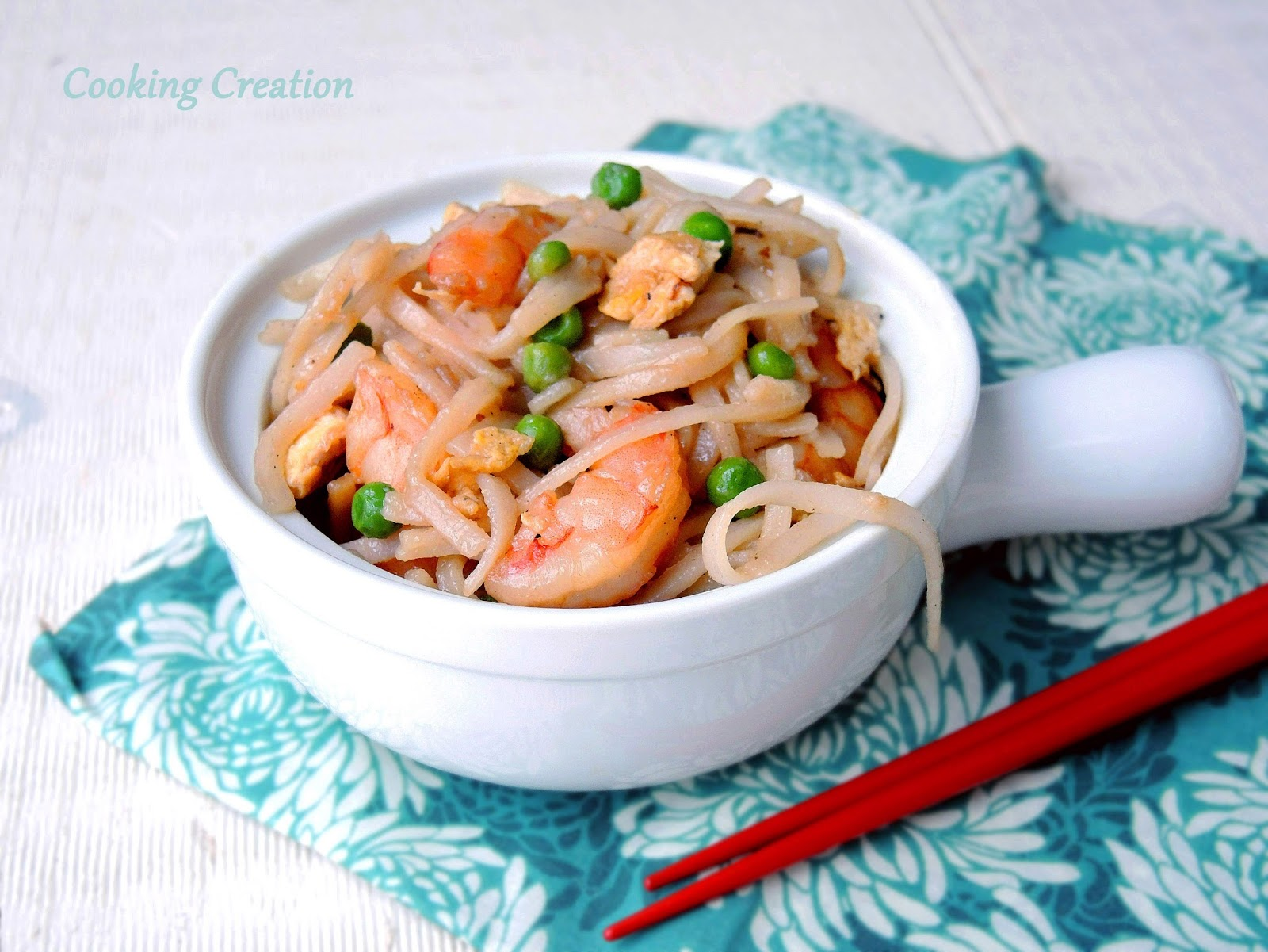 ... Creation: Busy Weeknight Shrimp & Rice Noodle Stir Fry with Peas