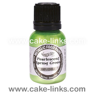 Pearlescent Spring Green Edible Paint for cake decorating